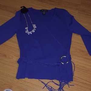 Cable & Gauge belted 3/4 sleeve sweater
